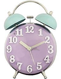 ツジセル 目覚まし時計 2TONEクリアベルクロック アナログ表示 連続秒針 パープル×グリーン 166232