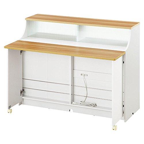 【組立不要の完成品+設置サービス】 キッチンカウンター レンジボード 台所収納 幅120cm ナチュラル