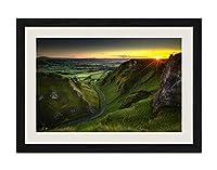 ブラック木製フレーム ホーム装飾ポスター 額入り絵画(イングランド、ピーク地区、緑色の畑、道路、日の出)40x30cm