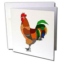"Alexisデザイン–Fauna–カラフルな図面のA Rooster against theホワイト背景–グリーティングカード 6 x 6"""