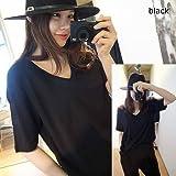 RONDEL-BLACK(ロンデルブラック)シンプル無地VネックTシャツ 半袖 黒 ブラック ホワイト 無地 (黒)