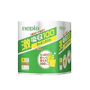 【ケース販売】 ネピア 激吸収 キッチンタオル 2枚重ね 100カット× 4ロール × 12個入