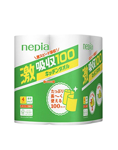 ネピア 激吸収 キッチンタオル 2枚重ね 100カット×4ロール