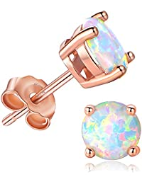 GMESME 925 Sterling Silver Round Created Opal 6mm Birthstone Stud Earrings