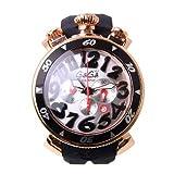 [ガガミラノ]GaGa MILANO CHRONO 48MM 6056.6 メンズ クロノグラフ クオーツ シルバー ブラックラバー ピンクゴールド男女兼用腕時計 [並行輸入品]