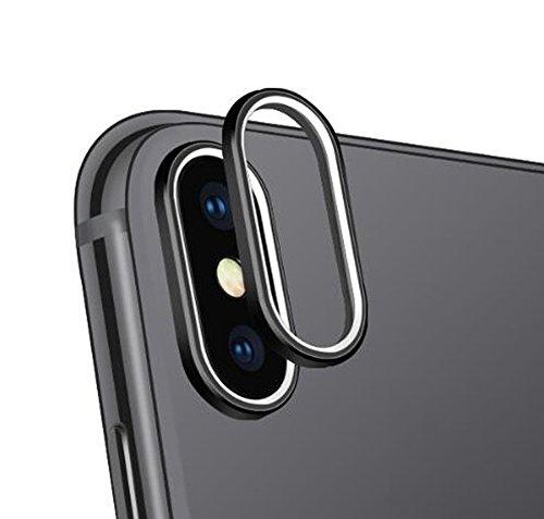 iPhone X カメラレンズ 保護リング Sakula レンズガード メタル 傷防止 金属 ホールドリング (ブラック)