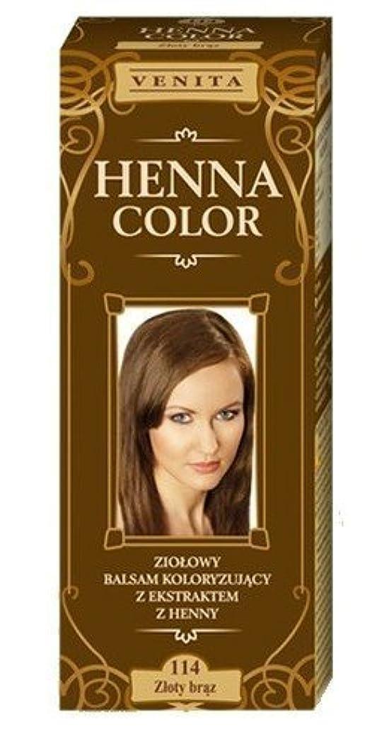 後退する保守的スタウトヘナカラー114ゴールドブラウンヘアーバームヘアカラー自然の染毛剤の生態効果