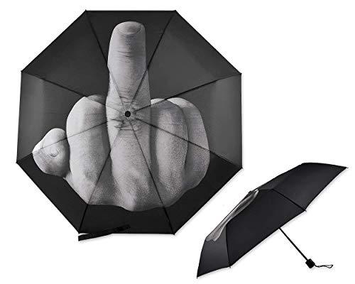 Folding Novelty Middle Finger Umbrella The Rain Umbrella Birthday Christmas Gift, Black