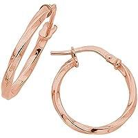 Bevilles 9ct Rose Gold Silver Infused Twist Hoop Earrings