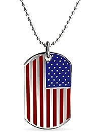 ブリングジュエリー ステンレス スチール製 アメリカ国旗 USA ID ドックタグ ネックレス 48cm