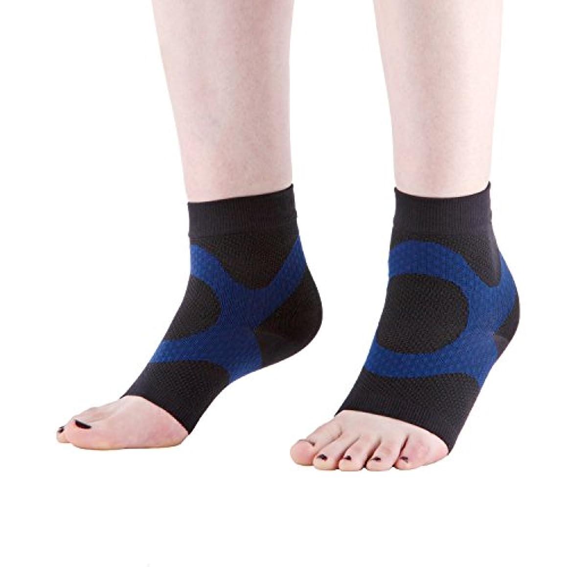 必要性マザーランド天のWanderlust足底筋膜炎用スリーブ(2枚1組):高級 オープントゥ 着圧靴下 KTテープ仕様 - 踵 足首 アーチのサポートに最適 足の痛み むくみ 骨棘を軽減 毎日昼夜24時間のケアを保証 ブラック