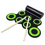 Rockpals 電子ドラム ポータブル ドラム 練習用パッド スピーカー内蔵 電池付き MP3・USB・イヤホン対応 マルチ伴奏 デモ機能搭載 8デモ曲 7個ドラムパッド 5音色 3リズム 充電式 電子どらむ 練習/初心者/入門/子供/おもちゃ 一年保証