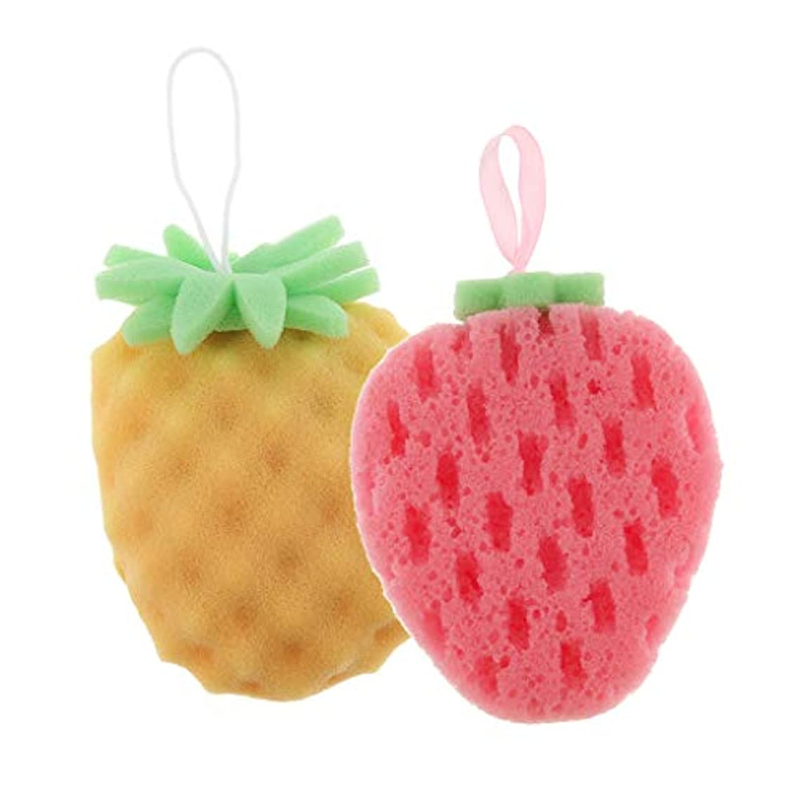 Baoblaze 2個 バススポンジ ボディスポンジ 可愛い フルーツ 果物の形 子供 お風呂