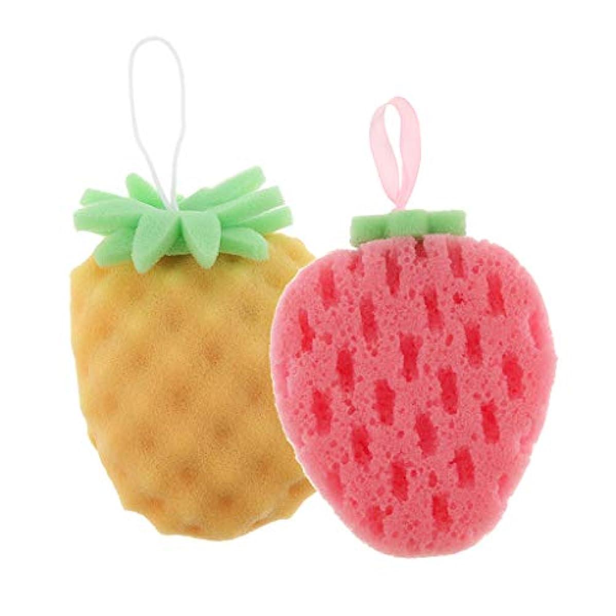 またはどちらか重荷レスリング2個 バススポンジ ボディスポンジ 可愛い フルーツ 果物の形 子供 お風呂