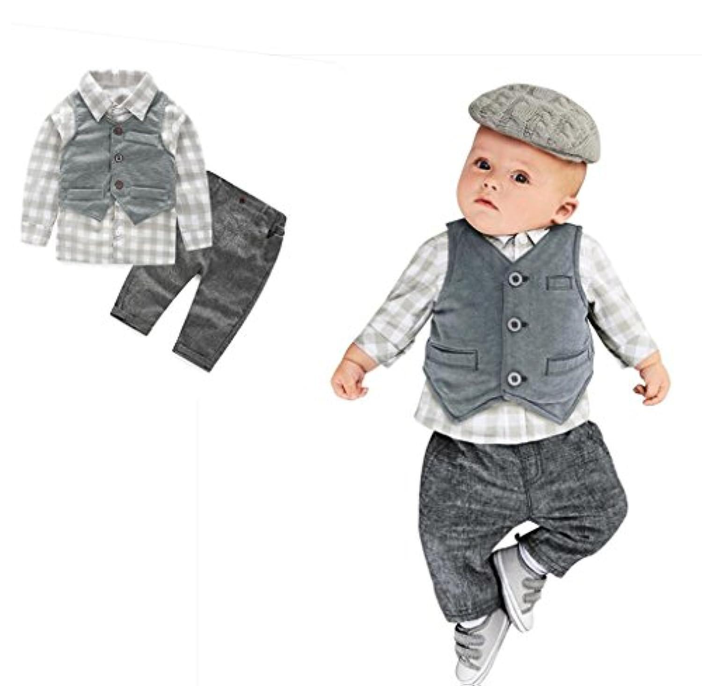 おしゃれ 紳士 3点セット(上着+パンツ+ベスト)男女兼用 かわいい ベビー服 女の子 赤ちゃん服 幼児 子供服 男の子 長袖 3サイズ キッズ服 ロンパース カバーオール 満月/出産祝い/プレゼント80CM-90CM-100CM(12ヶ月-24ヶ月) (100CM/24ヶ月, 写真のように)