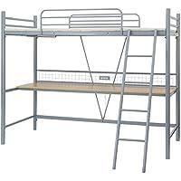 ロフトベッド シングル デスク付 ハイタイプ コンセント ハンガーラック 2段 パイプ ベッド システムベッド シルバー