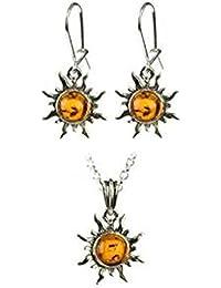 蜂蜜色の琥珀とスターリングシルバー を組み合わせた 炎を上げる太陽 イヤリングとペンダントのセット18インチ、46cm