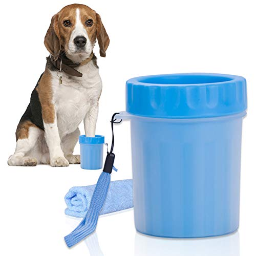 犬 足洗い ブラシカップ ペット足用クリーナー 愛犬のお散歩帰りのかんたん足洗い 柔軟 手入れ タオル付き (Small)