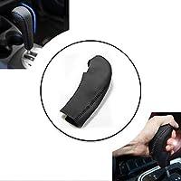 適用 Honda FIT 05-07 カーシフトレバープロテクタートリム 滑り止め レザーギアノブスティックカバー 黒い革黒ステッチ Q Type