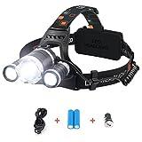 TecBillion 3CREE超強力 ヘッドライト 防水仕様 LEDヘルプライト 充電用ケーブル・カーチャージャー・電池付属 キャンプ/サイクリング/ハイキングなどのアウトドア活動に適用