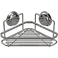 コーナーシャワーシェルフキャディオーガナイザーWバキュームサクションカップ必要なフックなし - ステンレススチールシャンプーコンディショナーホルダー