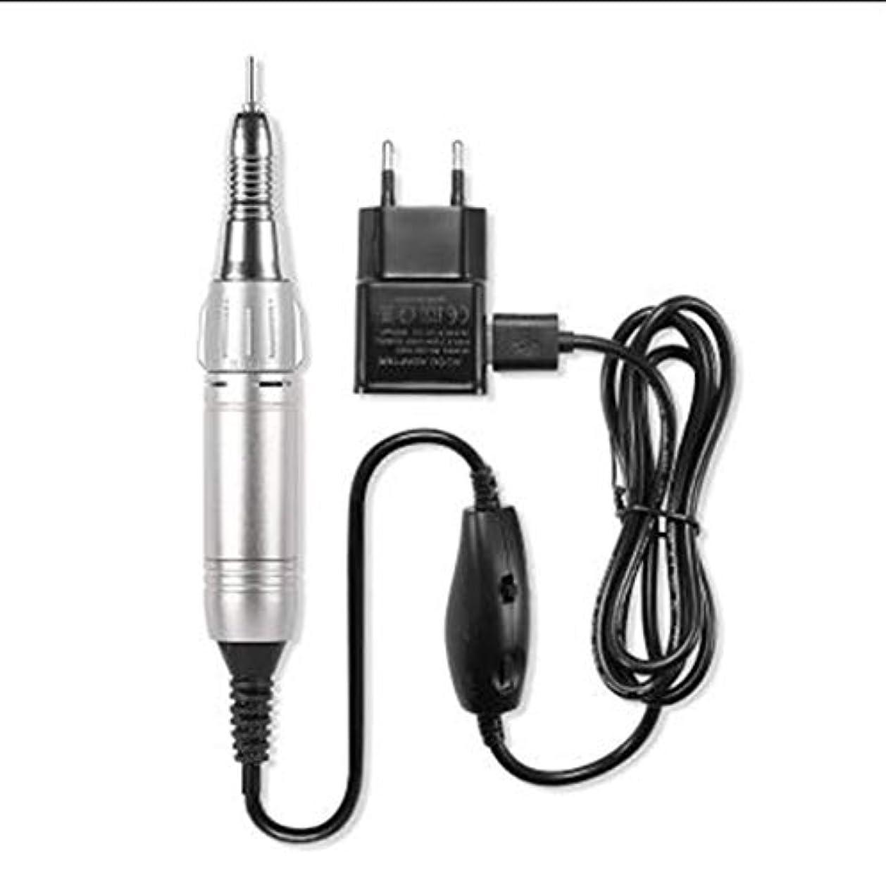 通信する百飼い慣らすアクリルゲルカルスを除去するための設定した電気ネイルポリッシャー電動ネイルDrillsLowノイズ低熱低振動研磨ツールネイル(20000RMP) (Color : Silver)