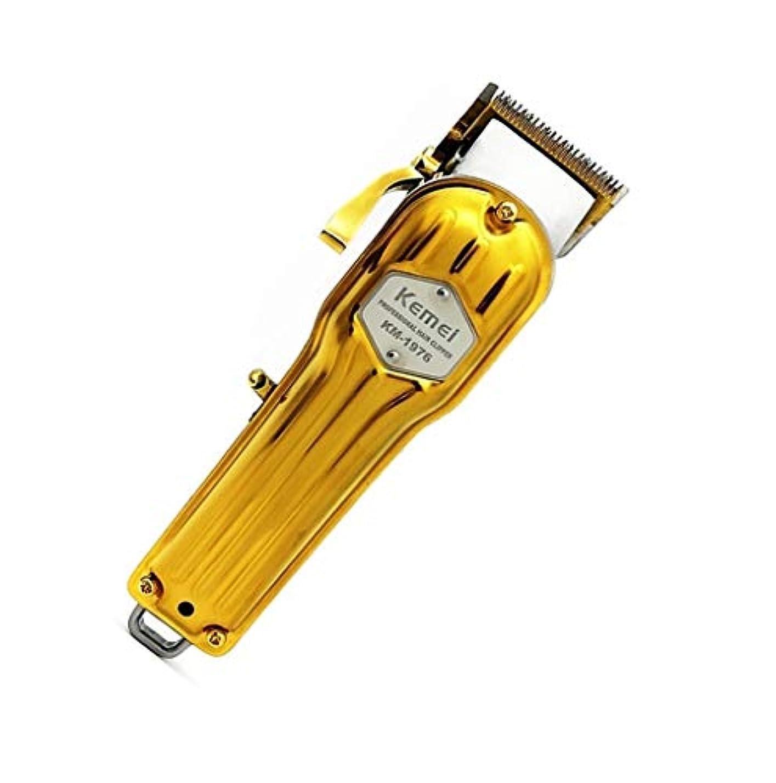 ロッカー保証コンパクトメンズ電動バリカン、プロのコードレスバリカンとひげトリマー、充電式バリカンセット、リミットコーム付き、金属 (Color : Gold)