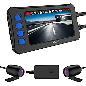 AKEEYO バイク用 ドライブレコーダー 前後 200万画素 120°広角カメラ 1920×1080P 3インチIPS液晶 WDR リモコン付き 全体防水 32GB MicroSDカード付き Gセンサー 常時録画 ループ録画 日本語説明書 一年間品質保証 AKY-958 (AKY-958)