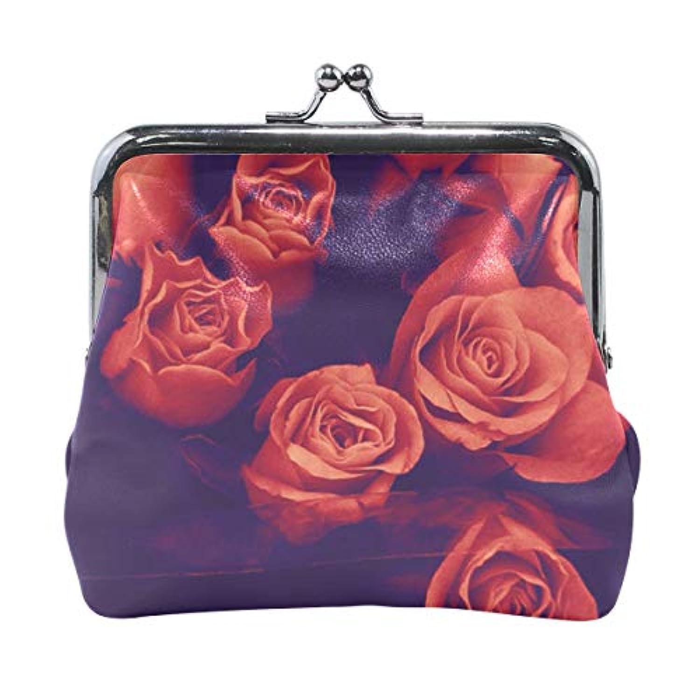 AOMOKI 財布 小銭入れ ガマ口 コインケース レディース メンズ レザー 丸形 おしゃれ プレゼント ギフト デザイン オリジナル 小物ケース 薔薇柄 赤色