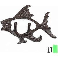Tang Song Cast Iron Fishコートフッククリエイティブホームキッチン装飾ハンガーキーフックネジで、6.7インチx4.9