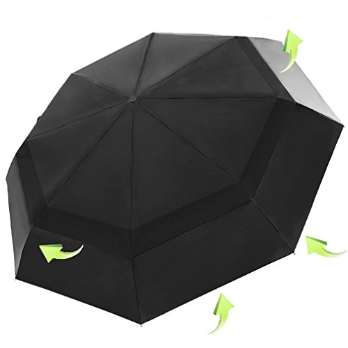 KOLER 折り畳み傘 風防 ワンタッチ自動開閉 大型 晴雨兼用 2重構造 軽量 118cm 耐強風 大きい自動傘 収納ケース付 ( ブラック / ブルー )
