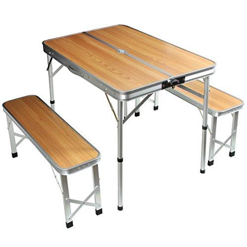 タンスのゲン アウトドアテーブル レジャーテーブル 幅90cm ベンチ 2脚セット 2段階高さ調節 軽量 ナチュラル 45000000 01AM 【62049】