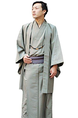 男性用着物8点豪華フルセット福袋(着物+羽織+長襦袢+羽織紐+角帯+履物+腰紐2本)メンズ(Lサイズ,4:利休鼠)