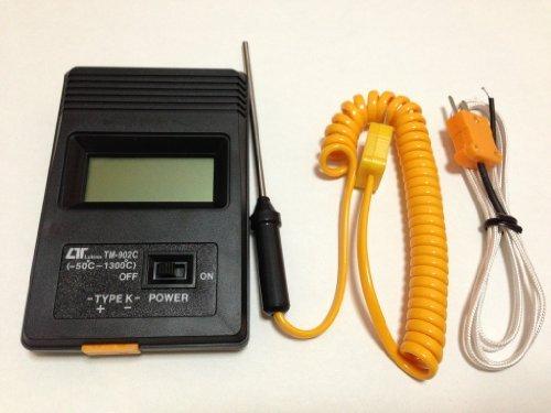 小型 高耐熱 デジタル 温度計 -50℃ から 750℃ 電池 & 日本語 使用 説明書 付き K型 熱電対 付属 (ケーブル タイプ + 棒 タイプ)