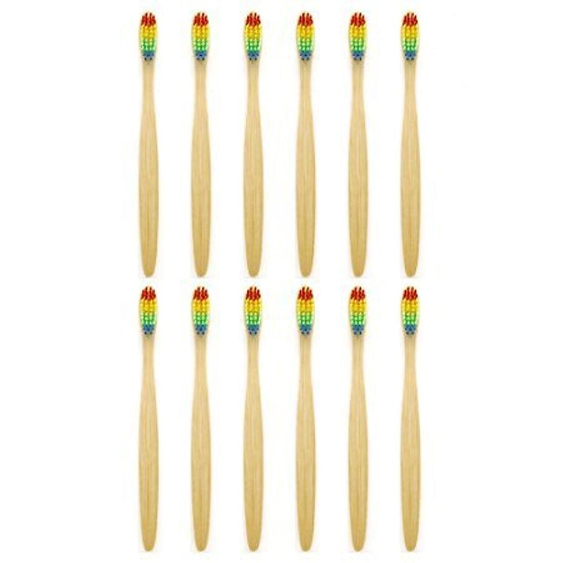 議論するバインド酔う天然竹歯ブラシGenkentリサイクル生分解性包装で環境にやさしい虹ナチュラル竹の歯ブラシはレインボーナイロン注入ブリストルで作られた(12本)