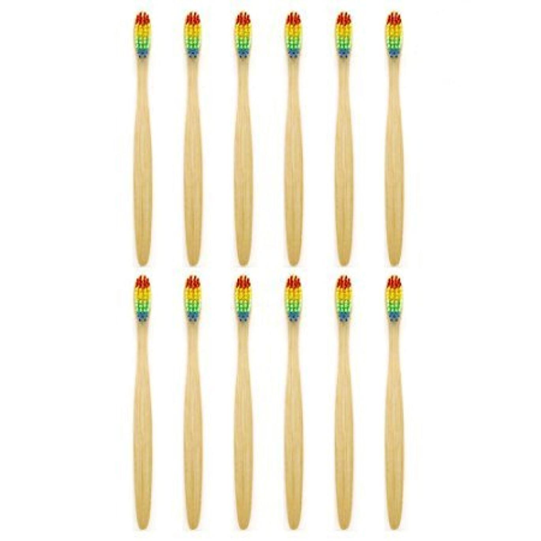 レモン無能ビバ天然竹歯ブラシGenkentリサイクル生分解性包装で環境にやさしい虹ナチュラル竹の歯ブラシはレインボーナイロン注入ブリストルで作られた(12本)