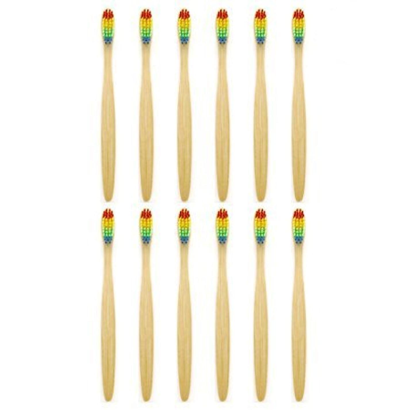 開いた花輪怖がらせる天然竹歯ブラシGenkentリサイクル生分解性包装で環境にやさしい虹ナチュラル竹の歯ブラシはレインボーナイロン注入ブリストルで作られた(12本)
