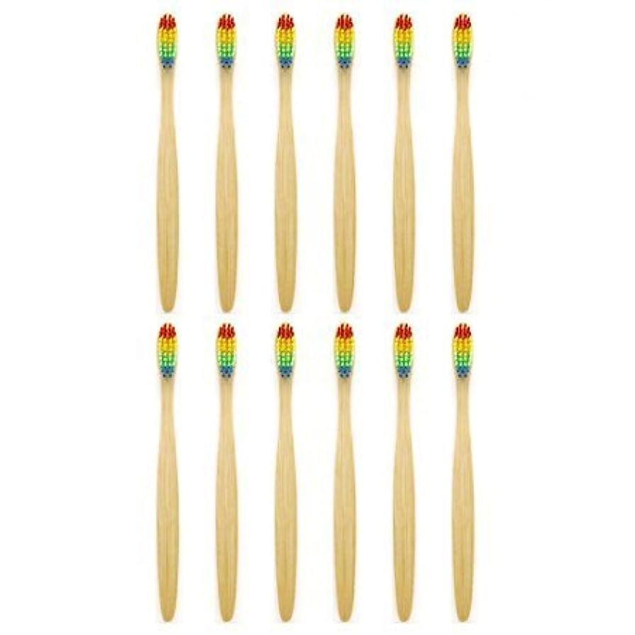 暴徒チョップ同意天然竹歯ブラシGenkentリサイクル生分解性包装で環境にやさしい虹ナチュラル竹の歯ブラシはレインボーナイロン注入ブリストルで作られた(12本)