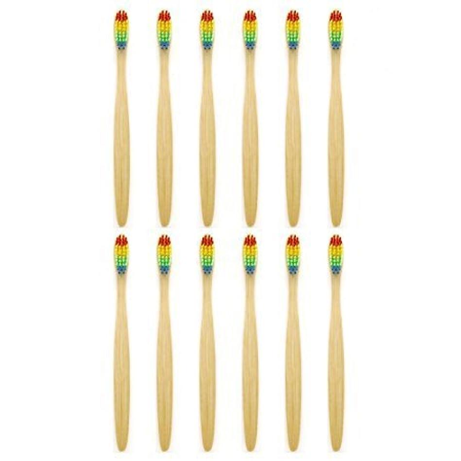 嫉妬裏切る動天然竹歯ブラシGenkentリサイクル生分解性包装で環境にやさしい虹ナチュラル竹の歯ブラシはレインボーナイロン注入ブリストルで作られた(12本)