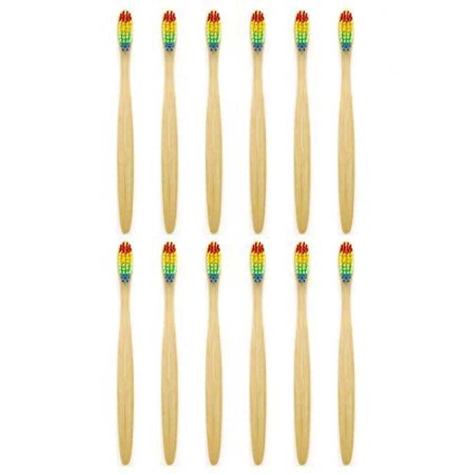 天然竹歯ブラシGenkentリサイクル生分解性包装で環境にやさしい虹ナチュラル竹の歯ブラシはレインボーナイロン注入ブリストルで作られた(12本)