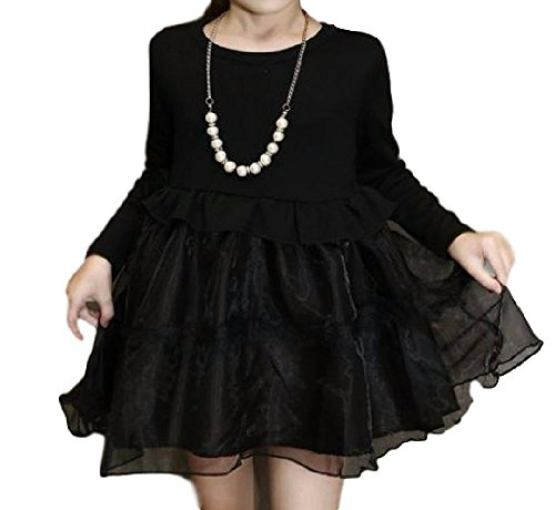 Flower ムーンフラワー ガールズ 女の子 フォーマル ワンピース レース オーガンジーリボン髪飾り ネックレス セット シフォンスカート 長袖 黒 100