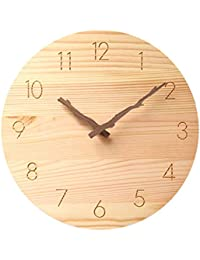 木掛け時計 木掛け鐘 おしゃれなインテリア時計 連続秒針 音無し 円形 天然木 飾り付け 電池式 直径約25cm (木製)