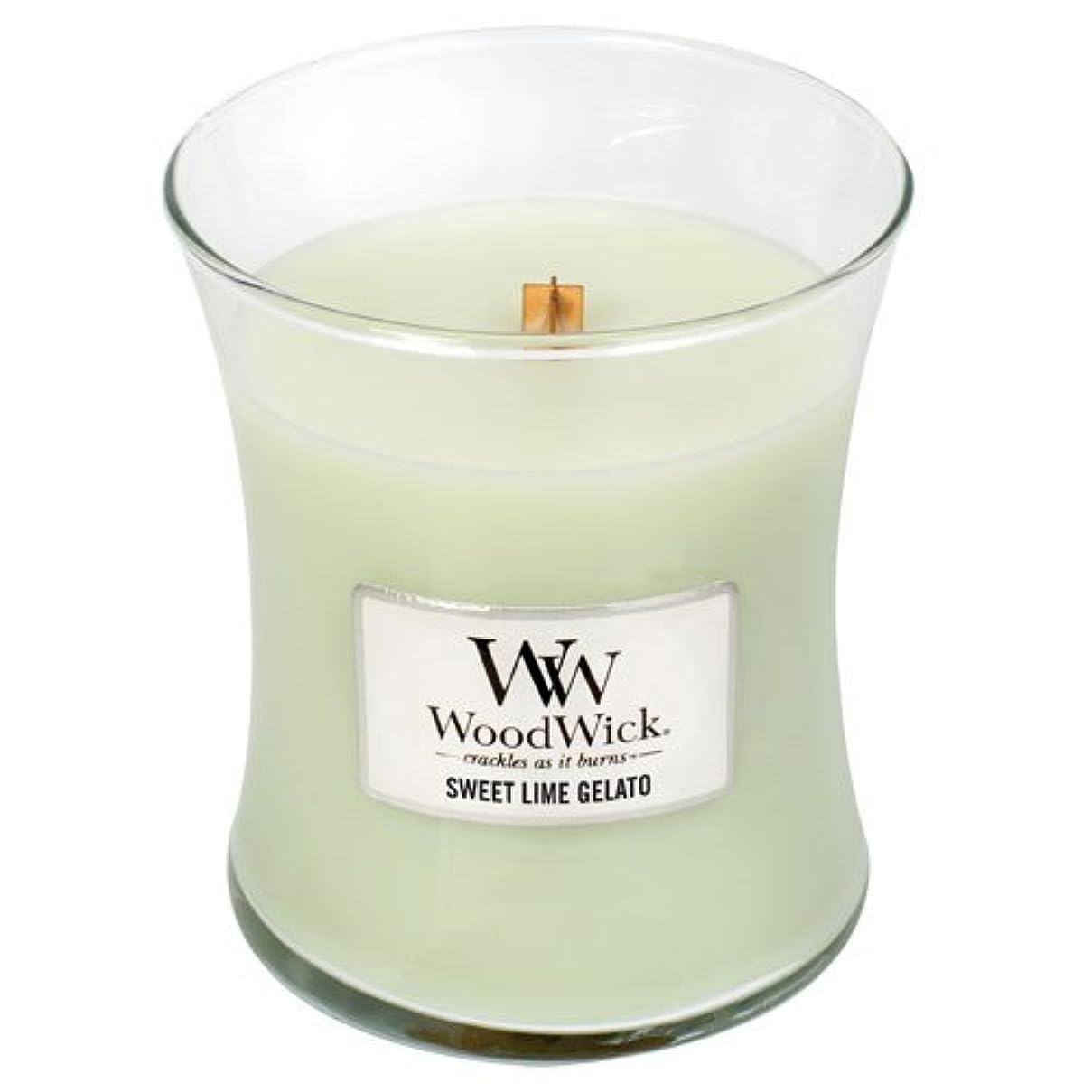 活発一杯ゴールSweetライムGelato WoodWick 10oz香りつきJar Candle