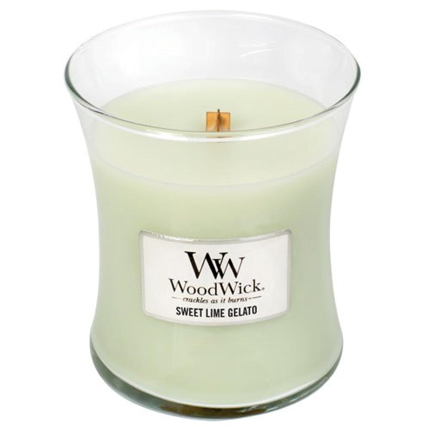 ゴルフアメリカ学期SweetライムGelato WoodWick 10oz香りつきJar Candle