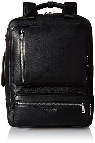 Armani JeansメンズPU Outside Zipポケットバックパック US サイズ: One Size カラー: ブラック