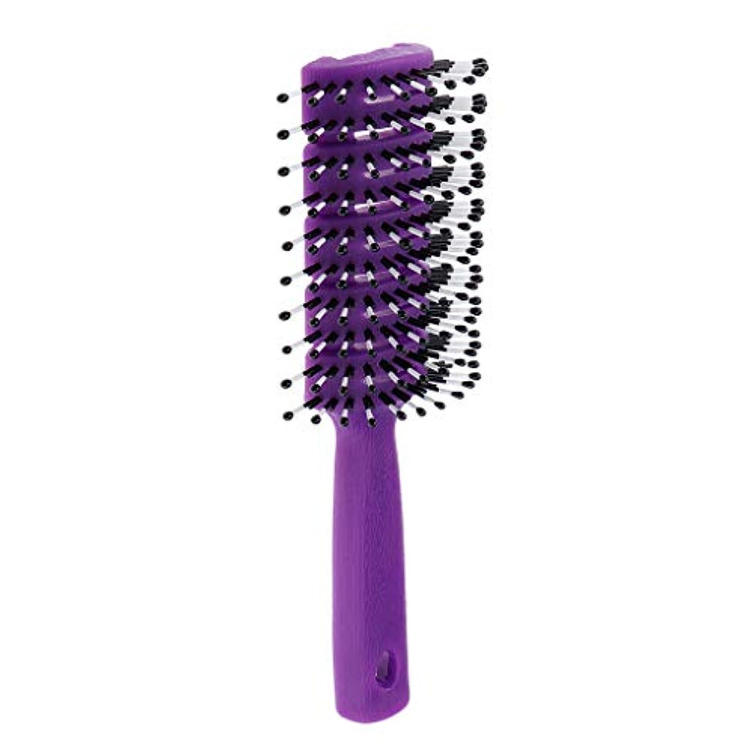 結果より平らな視線ユニセックス非静電ヘアスタイリングヘアブラクdetanglerサロンコーム - 紫