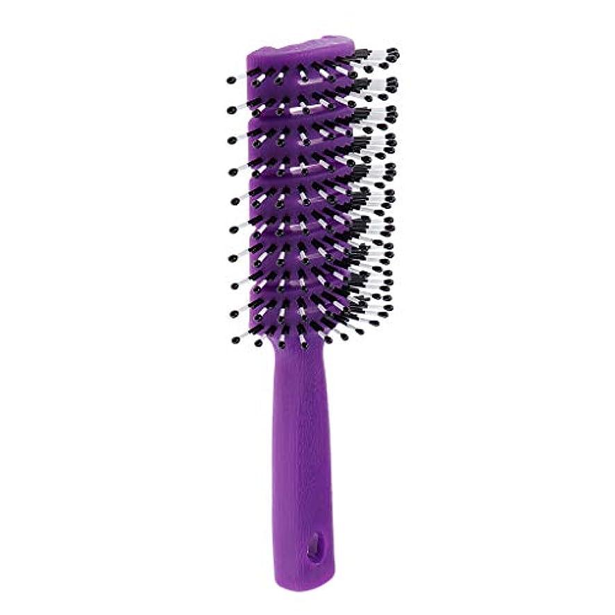 フィットネスすごい居眠りするヘアコーム 静電防止櫛 ヘアブラシ 頭皮マッサージ 快適 3色選べ - 紫