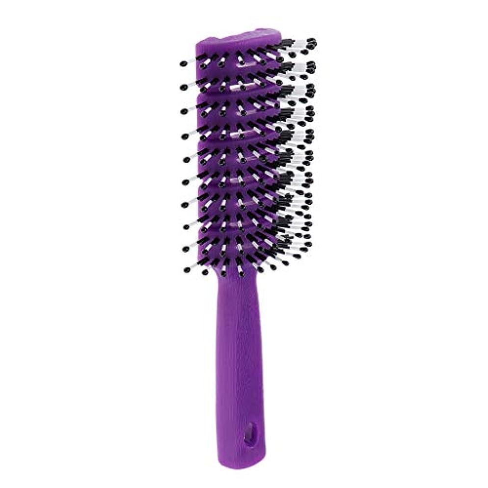 勝つメダルバージンユニセックス非静電ヘアスタイリングヘアブラクdetanglerサロンコーム - 紫