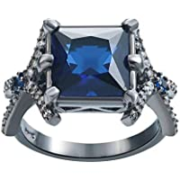 VPbao CZ Cubic Zirconia 18K Stainless Steel Square Crystal Cocktail Party Rings Dark Blue