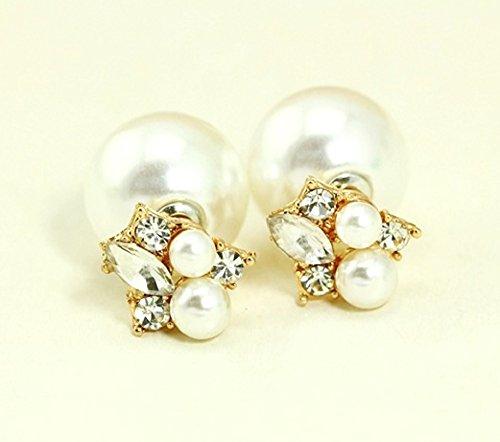 [해외][먀오먀오] Miaomyao 진주 귀걸이 비쥬 귀걸이 CZ 큐빅 굵은 알이 여성 2 개 세트/[Miao Miao] Miaomyao Pearl Earrings Bijou Earrings CZ Cubic Zirconia Large Grain Ootama Women`s 2 Pieces